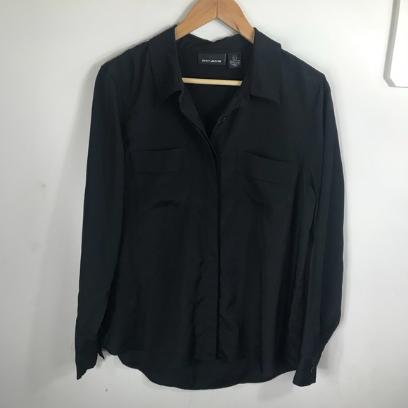 Dkny Tops - DKNY | Black Blouse with Cuffed Sleeves